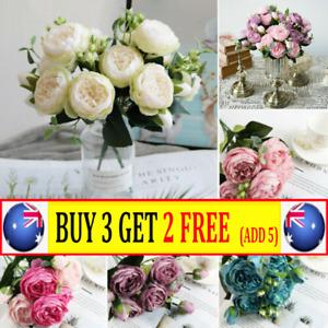 9Heads Artificial Flowers Silk Peony Bouquet Rose Wedding Home Party Decor Z