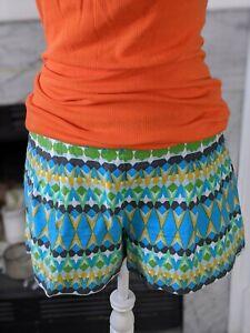 J Crew Linen Blend Green Blue Print Shorts 8