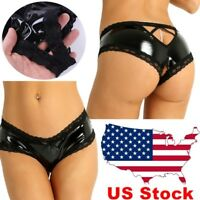 US Hot Womens Wet Look Briefs Patent Leather Panties Crotchless Thong Underwear