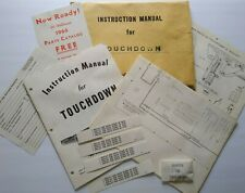 Williams Touchdown 1967 Original Pinball Machine Game Manual Schematic Paper Lot