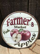 Farmers Market Fresh Apples Round Sign Tin Vintage Garage Bar Decor Old Rustic
