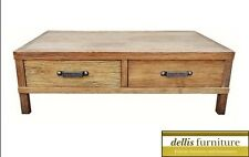 NEW Rustic Recycled Elm Timber 2 Drawer Coffee Table Natural Colour Iron Handles