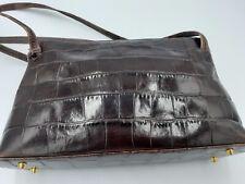 Vintage MONSAC Croc Brown Leather H