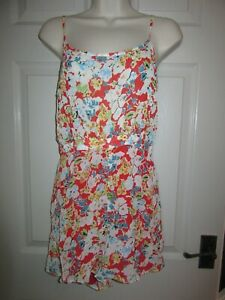 BNWT £46 Topshop Playsuit UK 8 Floral Pattern Red White Blue Summer Dress Up