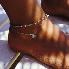 Ornament Double Ladies Women Jewelry Sl Casual Peach Heart Anklet Foot Chain New