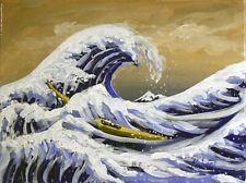 "The Great Wave off Kanagawa Hand Painted Interpretation signed ""Robert"" COA"