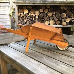 Small Vintage Child's Wooden Garden WheelbarrowGreat For Farmers Market Display