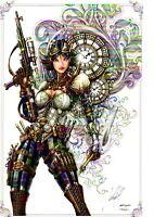 LADY MECHANIKA STEAMPUNK ART PRINT Signed by Artist JAMIE TYNDALL