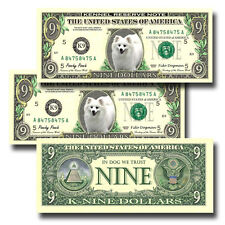 American Eskimo Dog Pack of Three Novelty Nine Dollar Bills Dog