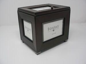 "The Bombay Company Hohogany Photo Storage Box 4x6"" Holder With Picture Windows"