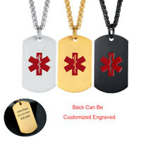 Men Women Dog Tag Medical Alert Necklace Stainless Steel Pendant Free Engraving