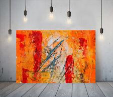 ABSTRACT ART 3-DEEP FRAMED CANVAS WALL SPLASH ART PICTURE PAPER PRINT- ORANGE