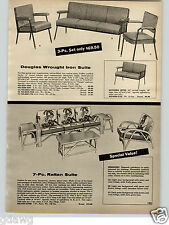 1956 PAPER AD Philippine Rattan Patio Porch Funiture Floral Design Fabric Chair