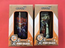 Super 7 Transformers Pint Glass Optimus Prime Megatron