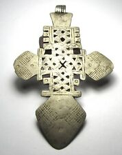 RARE LARGE AMAZING OLD SOLID SILVER ETHIOPIAN CROSS ANTIQUE PENDANT 65mm x 102mm