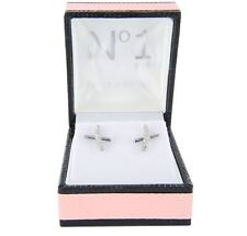 Sterling Silver Cubic Zirconia Stone Set Cross Stud Earrings Rhodium Plated