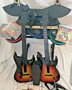 PS3 PS4 Guitar Hero Band Drums 2x Sunburst Dongles ROCKBAND PEDAL 3 Games Mic