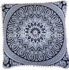 """Indian Elephant Euro Sham Pillow Cases 26x26"""" Mandala Meditation Cushion Cover"""