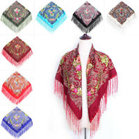 Women Floral Tassel Fringed Scarf Shawl Neck Wrap Bohemia Pashmina Scarves Gift