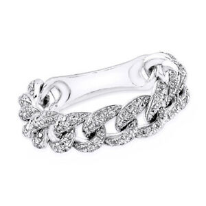 3/5 Ct Round Cut D/VVS1 Solid 14K White Gold Link Chain Ring