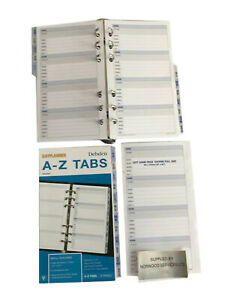 A - Z Tabs for A6 Refill Inserts (96x172mm) suitable for Personal Filofax size