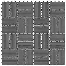 Vidaxl 11x Piastrelle per Decking WPC 30x30cm 1 mq Grigio Mattonelle Pavimento