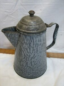 Antique Gray Agate Ware Granite Enamel Coffee Tea Pot Cowboy w/Tin Lid Camping