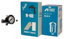 ANEST IWATA Air Regulator + W-400-134G W400 1.3 mm BellAria Spray Gun + Cup NEW