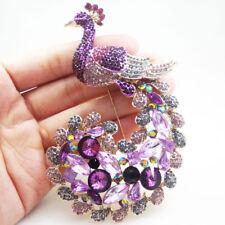 Classic Luxury Peacock Bird Gold Tone Brooch Pin Purple Rhinestone Crystal