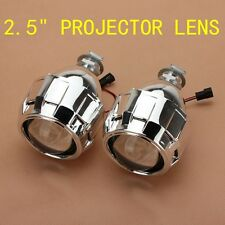 "2x 2.5"" Mini HID Bi-xenon Projector Lens Headlight H1 H4 H7 w/ Chrome Shroud Kit"