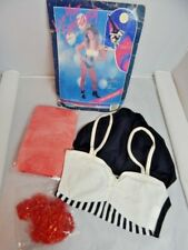 Nos Vintage 1980s Topstone Delectable Wench Halloween Costume Bodysuit Fishnets