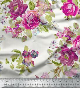 Soimoi 58 Wide Floral Printed 115 GSM Viscose Rayon Fabric By The 1 Yard