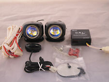 D.R.L. UNIVERSAL 12V H3 55W FOG LIGHTS DRIVING LAMPS HARNESS SET PAIR KIT AMBER
