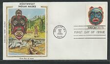 # 1834-1837 NORTHWEST INDIAN MASKS Colorano Silk Cachet, 1980 First Day Covers