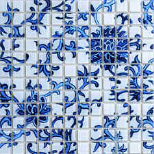 blue and white glass mosaic tile parquet kitchen backspalsh bathroom shower wall
