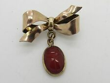 1/20 12K Gold Filled Bow Pin Brooch With Scarab Beetle Charm 4.9 Grams - U1785