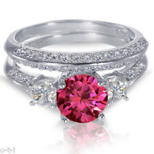 White Gold Sterling Silver Brilliant Ruby Wedding Engagement Ring Set