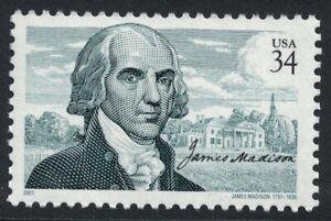 Scott 3545- James Madison, 4th US President- MNH 34c 2001- unused mint stamp