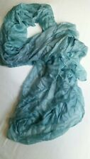 One-off, Large, Hand-painted SILK Shawl / Bridal Turquoise Grey 89CM  X 189cm.