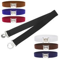 Women's Retro Ladies Belt Metal Elastic Stretch Buckle Waist Belt Thin Waistband