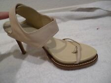 ANN DEMEULEMEESTER Blanche ivory cream Heeled Leather Sandals ankle wrap SZ 38.5