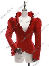 Victorian Vintage Royal Red Blazer Ruffle Coat Theater Steampunk Jacket C031