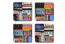 Personalized Coasters featuring the name ALEX in photos of signs - Set of 4