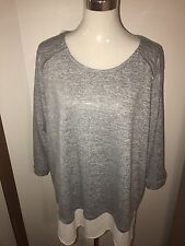 Plus Size 24 Grey Marl 3/4 Sleeve Comfy Tunic With White Shirt Hem