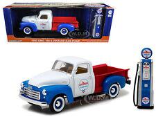 1950 GMC 150 PICKUP TRUCK CHEVRON W/ VINTAGE GAS PUMP 1/18 BY GREENLIGHT 12992