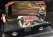 Pioneer Matt Black 1969 Dodge Charger General Lee Dukes of Hazzard Slot Car 1/32