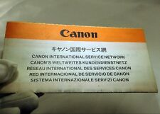 Canon International Service Network Guide English 1970's vintage