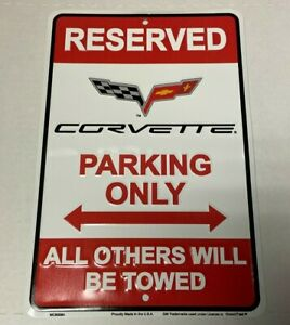 """CORVETTE PARKING ONLY~~ 8"""" x 12"""" Embossed Metal Sign man cave car truck"""
