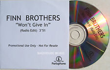 CROWDED HOUSE CD Finn Brothers - Won't Give In UK DJ PROMO Radio Edit + Sticker