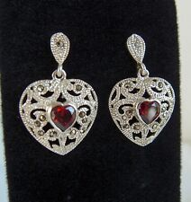 Earrings with Red Stones! Sterling Silver Marcasite Heart Pierced